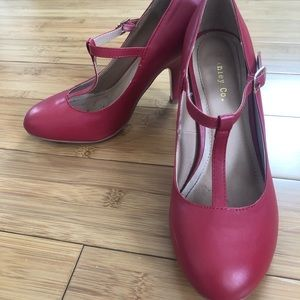 Shoes - Red T-Strap Heels